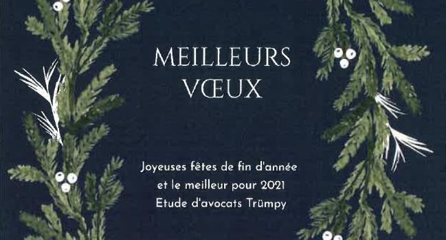 L'étude Trümpy à Lausanne et à Echallens vous souhaite de joyeuses fêtes de fin d'année!